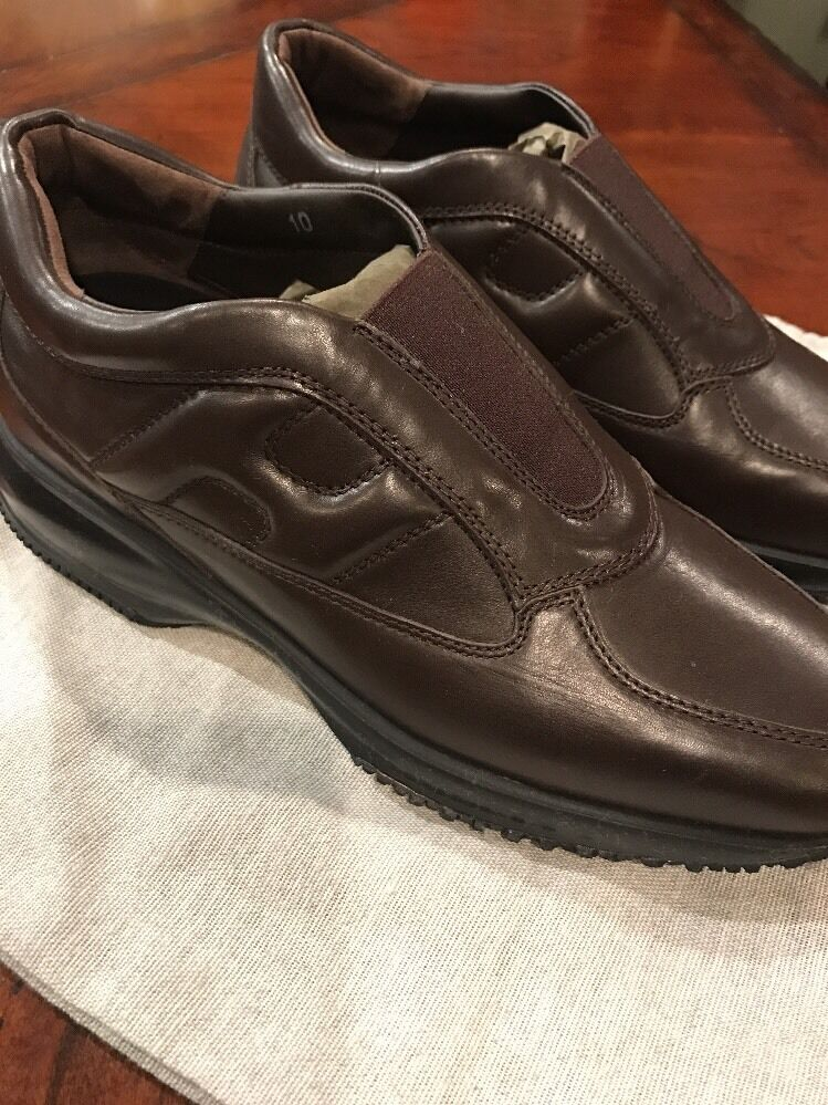 Hogan Brown Leather Slip On New 10