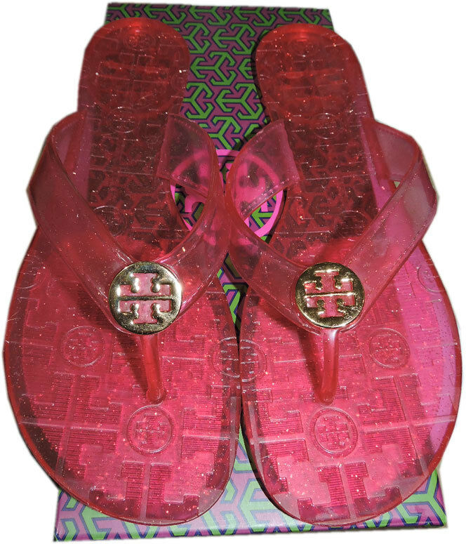 Tory Burch Pink Pink Pink Thongs Sandales Jelly Gold Logo Flip Flop Slide 9.5 a44399