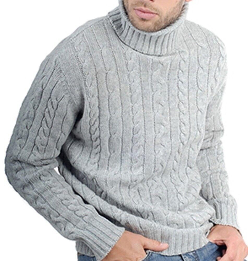 Balldiri 100% Rollkragen Zopf Pullover 10 fädig hellgrau XXXXL