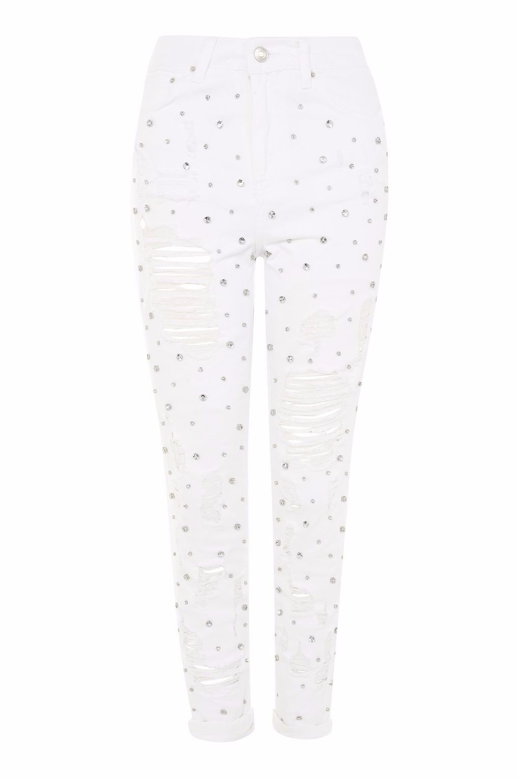 Topshop MOTO Limited Edition White Gem Stone Mom Jeans Size 28 32 RP