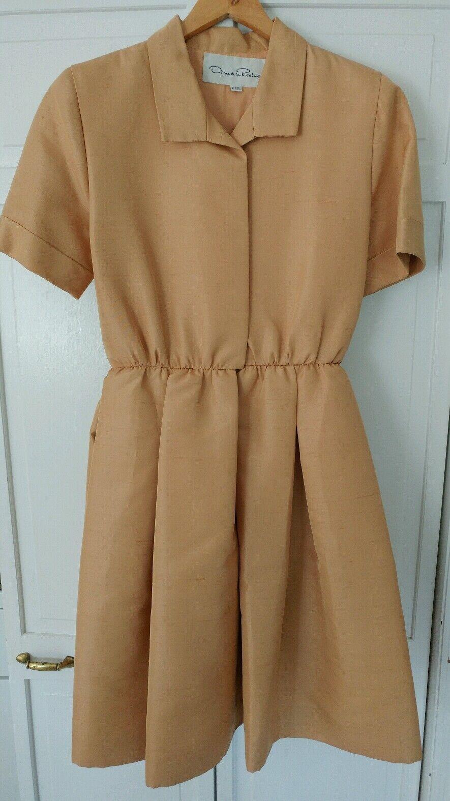 Oscar Oscar Oscar de la Renta gold Silk Dupioni Tea Dress, Size 12, fits like an 8 218f7c