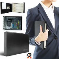 7 Ring Business Check Book Binder 3-on-a-page Zippered Black Leather Look Vinyl
