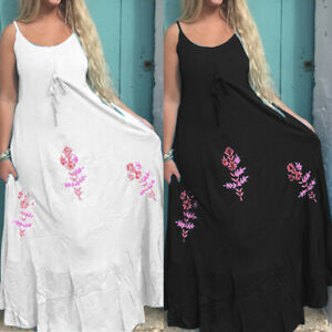 Summer-Women-Ladies-Strappy-Cami-Maxi-Dress-Beach-Floral-Long-Sundress-Plus-Size