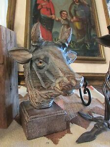 Vintage Hand carved wooden folk art Cow or Bull w/ glass eyes Spain or Italy