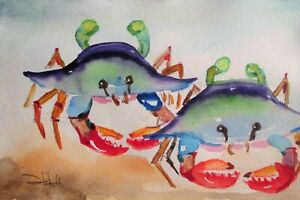 Two Blue Crabs 6x9 collectible watercolor paintings art Delilah