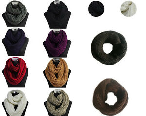 Fashion-Solid-Color-Winter-Neck-Warmer-Infinity-Circle-Knitted-Cowl-Loop-Scarf
