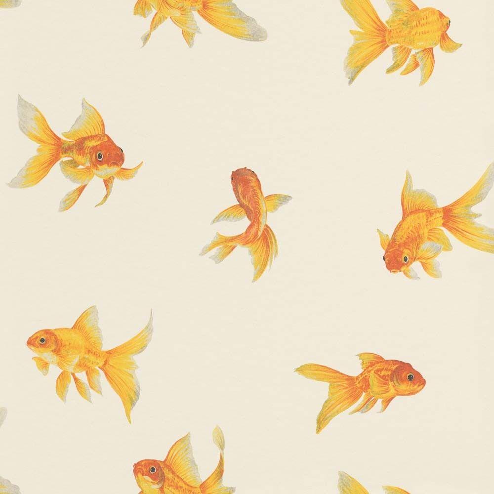 Tapete Goldfische weiß Orange Metallic Rasch Textil 289465 ( /1qm)