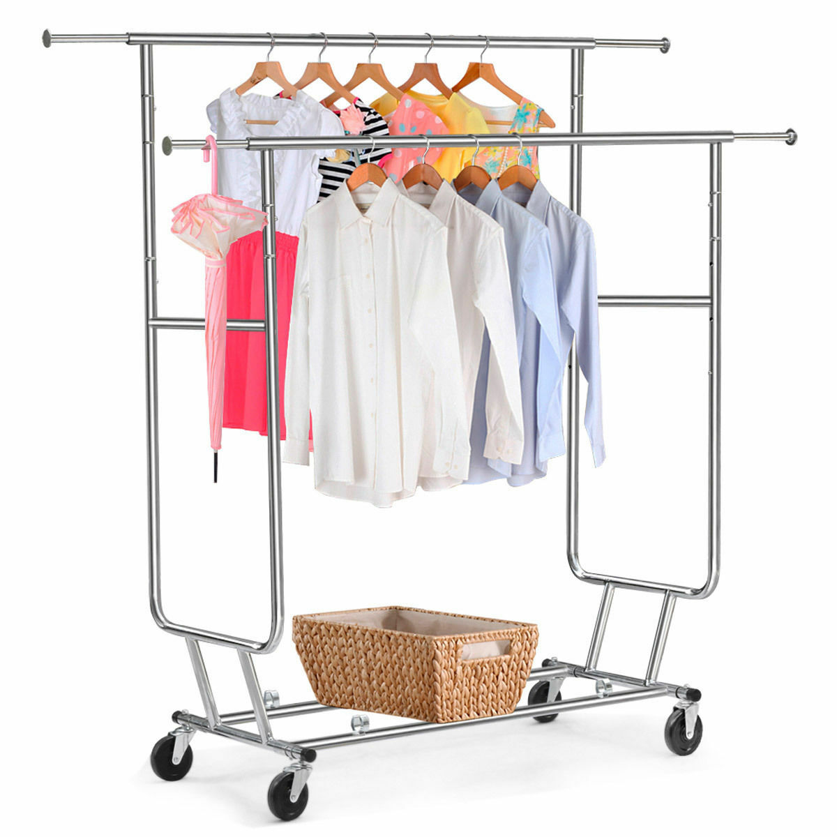 Heavy Duty Double Adjustable Portable Clothes Dry Hanger