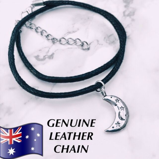 Genuine Leather Moon Star Crescent Choker Necklace Grunge 90s 1990s Festival NEW