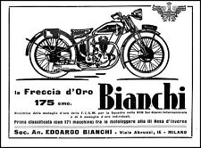 PUBBLICITA' MOTO BIANCHI FRECCIA D'ORO 175 CMC MOTOLEGGERA ROSA D'INVERNO 1932