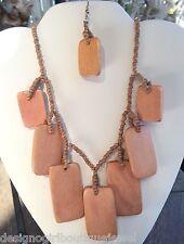 Wood Bead Necklace Earrings Set Brown Beige Ethnic Tribal