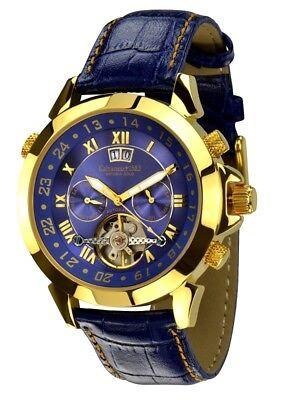 """1.249,-€ Sk Mögl.· Calvaneo 1583 Astonia """"luxury Blue Gold"""" Automatik Kalender Durchsichtig In Sicht Uhren & Schmuck Armband- & Taschenuhren"""