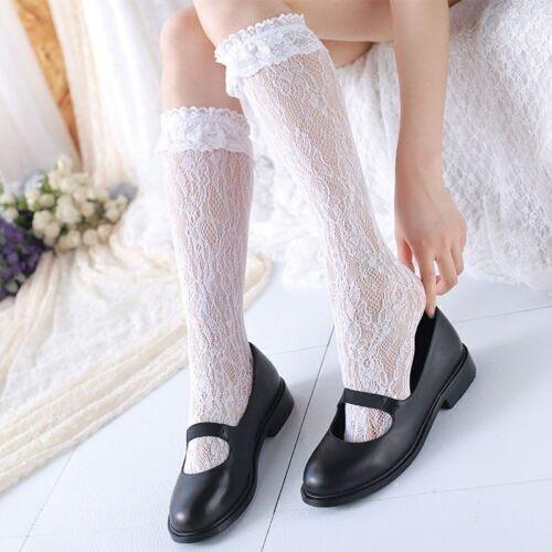 Cute Women White Lace Mid-calf Length Sock Lolita Girls Lace Socks