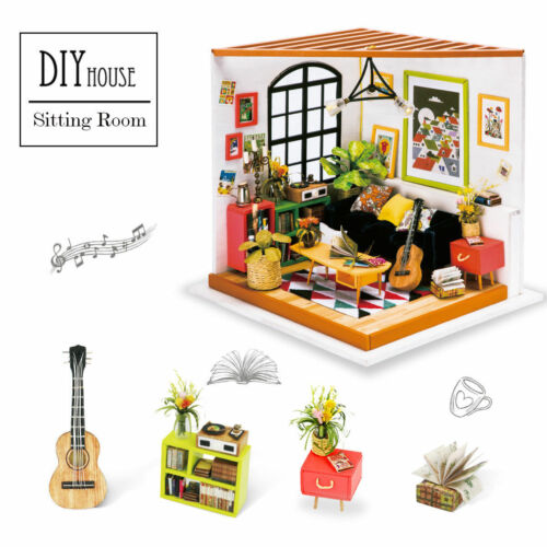 Robotime DIY Doll House Building Set Wooden Dollhouse Miniature Toy for Children