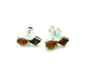 Beautiful-925-Sterling-Silver-amp-Baltic-Amber-Designer-Earrings-SilverAmber-5954