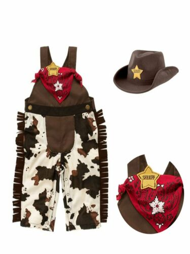 Hat and Handkerchief 3 Infant Toddler Baby Boy Sheriff Cowboy Costume Overalls