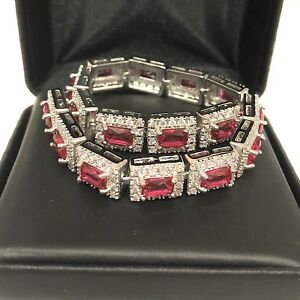 25-89-Ct-Red-Ruby-Diamond-Halo-Tennis-Wide-Bracelet-Wedding-Engagement-Jewelry