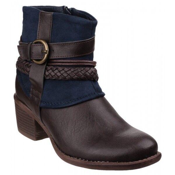 Divaz VADO Ladies Womens Wooden Block Heel Side Zip Ankle Cowboy Boots Navy Blue
