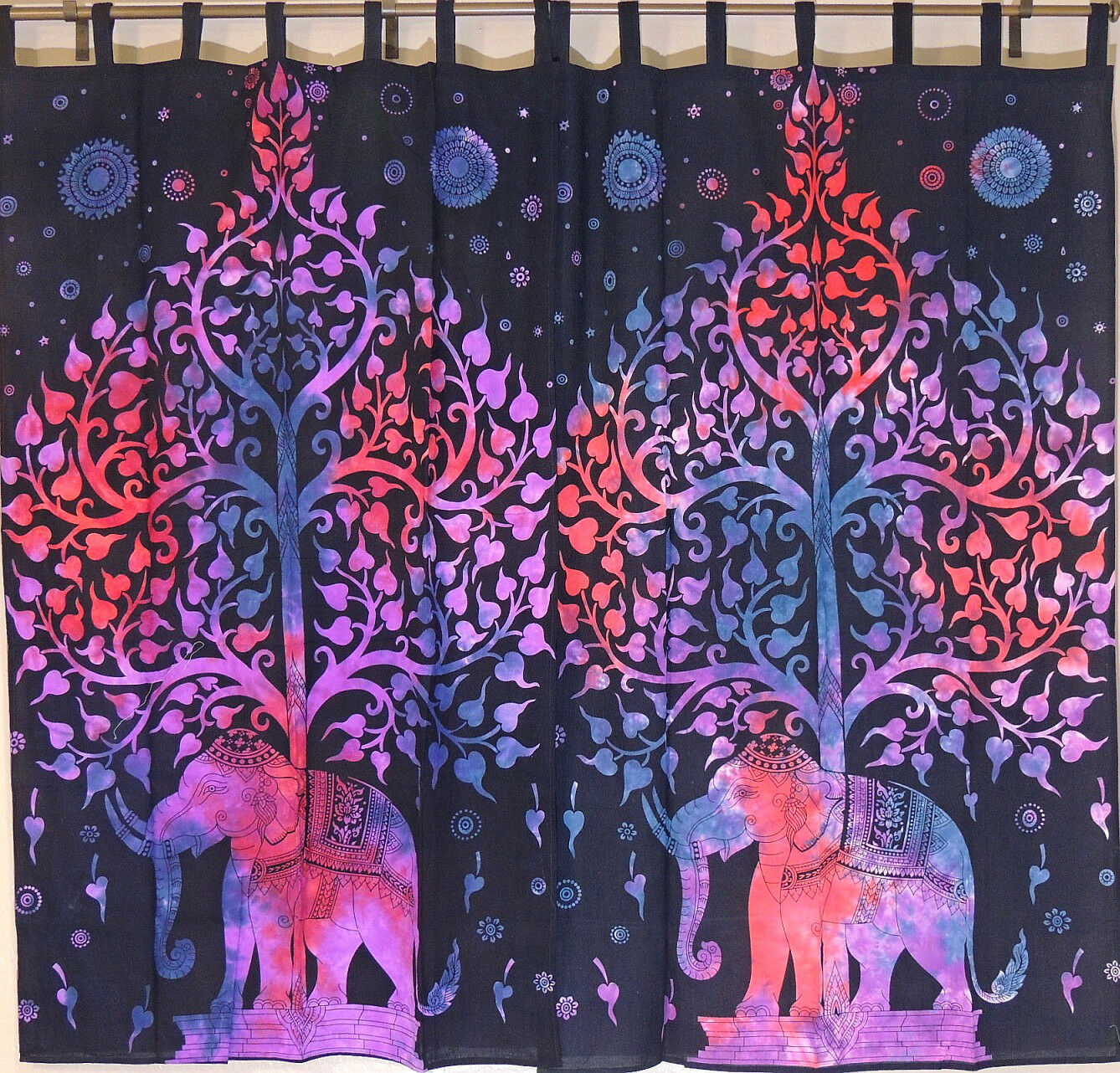 Elephant Tree of Life  2 Tab Top Window Treatments Curtain Panels Cotton 80