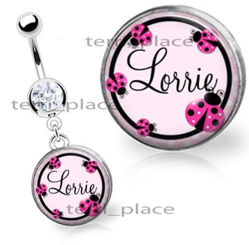 "Custom Ladybugs Name Belly Ring Navel Piercings CZ Gem Personalized 14ga 3//8/"""