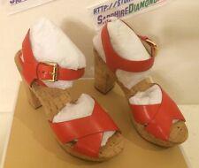 Michael Kors Natalia Mandarin Leather Platform Sandals HEELS Shoes 9m