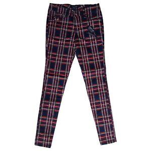 Tripp-NYC-80s-Punk-Black-Red-Tartan-Plaid-Skinny-Stretch-Jeans-Pants-Size-27-5
