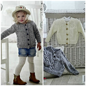 Knitting pattern childrens cable cardigan jumper aran king cole image is loading knitting pattern childrens cable cardigan amp jumper aran dt1010fo