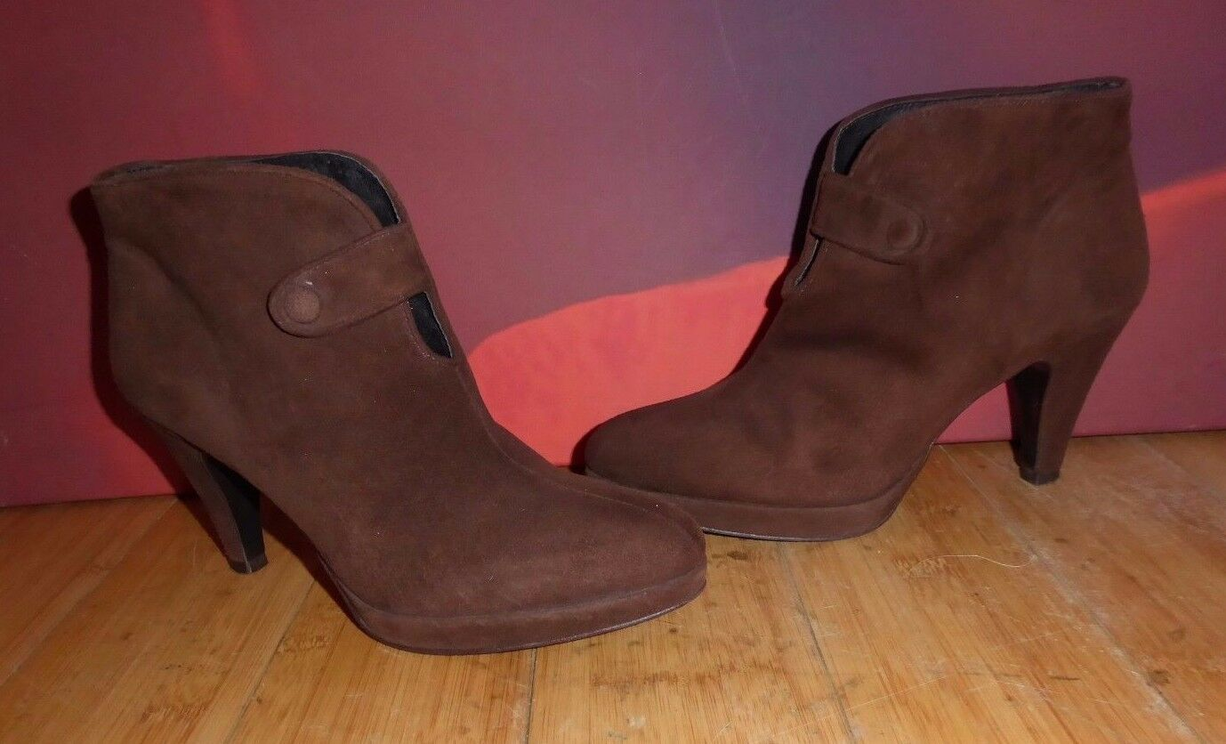 *44* ZARA BROWN SUEDE LEATHER PLATFORM ANKLE BOOTS  UK 4 EU 37