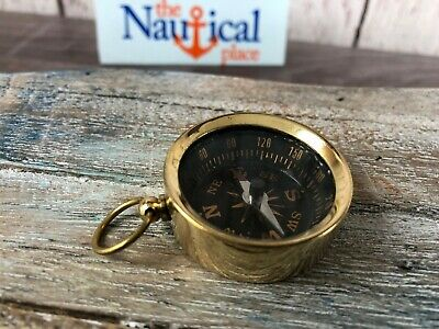 Brass Compass With Lid Vintage Antique Mini Pocket Style Pocket Necklace USA