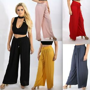 Women-039-s-High-Waist-Pleated-Wide-Leg-Flared-Palazzo-Trousers-Ladies-Pants-8-16