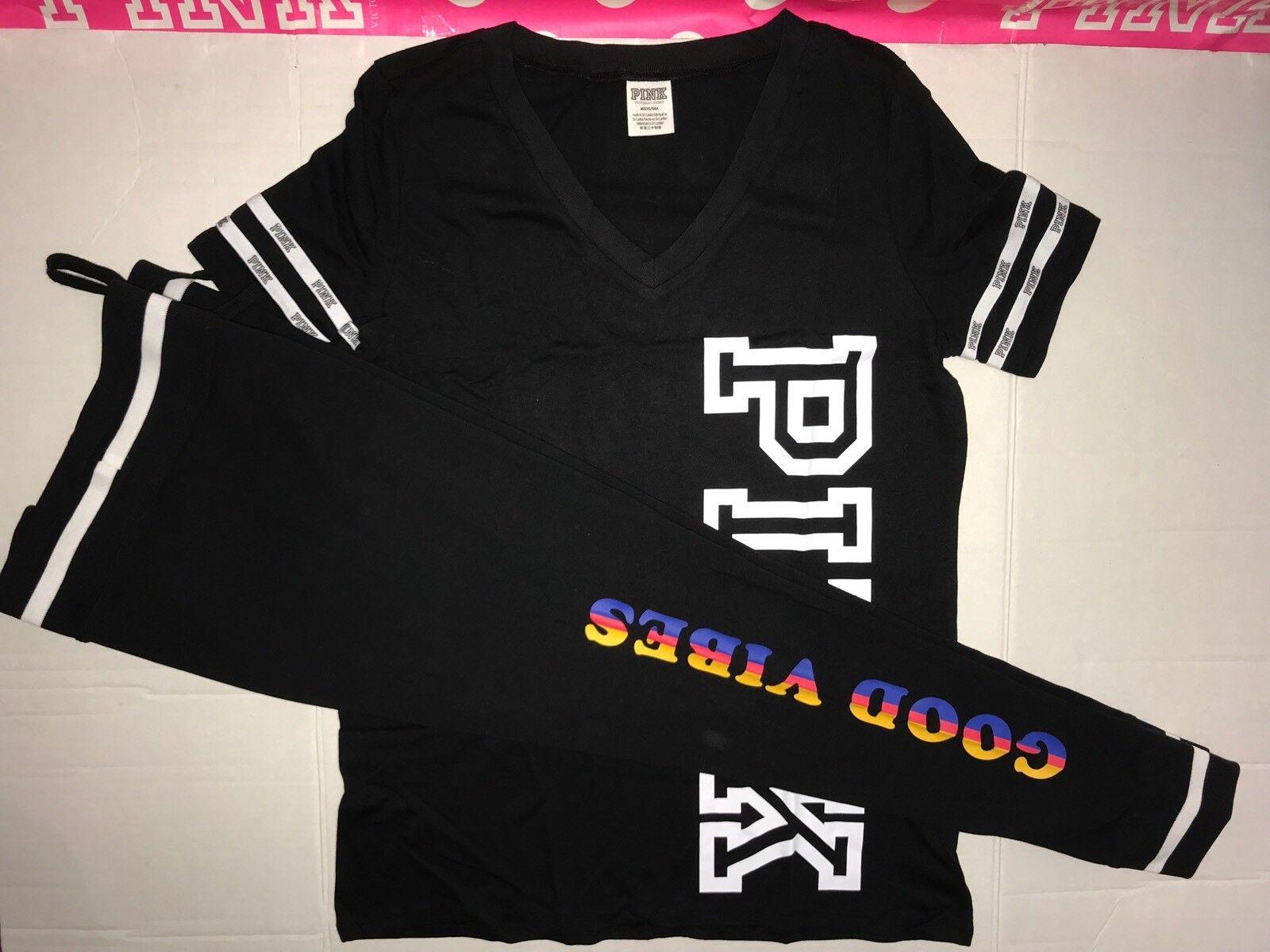 """Victoria Secret rose graphique tee shirt top & CAMPUS YOGA legging """"Good VIBES"""" M"""