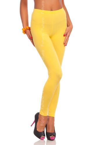 Full Length Yellow Premium Cotton Leggings Comfortable Stretchy Pants Sizes 8-22
