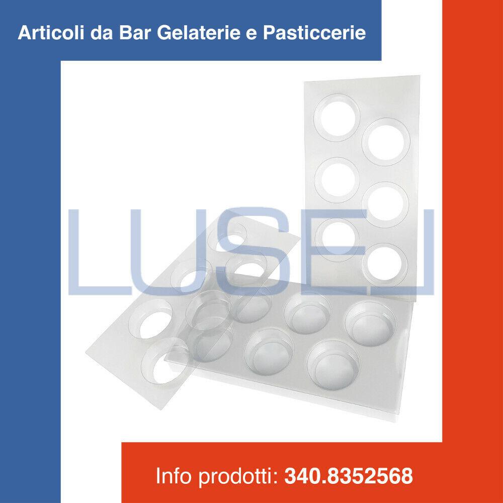 PZ 1 KIT STAMPO IN PLASTICA PER GELATO BISCOTTO TONDO (6 SCOMPARTI)