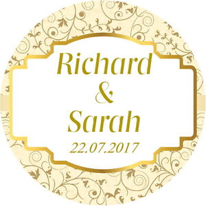 PERSONALISED GLOSS QUALITY  MEHNDI FAVOUR LABELS,THANK YOU STICKERS CREAM /& GOLD