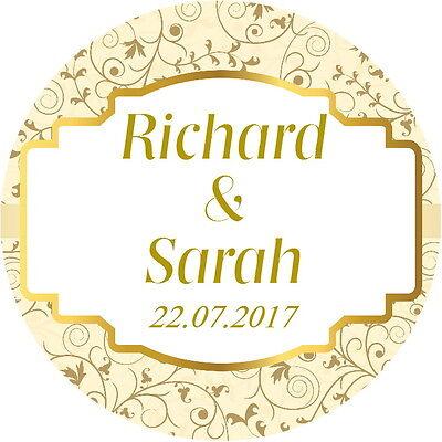 Qualità Gloss Personalizzato Matrimonio Favore Etichette, Adesivi Di Ringraziamento Crema E Oro-