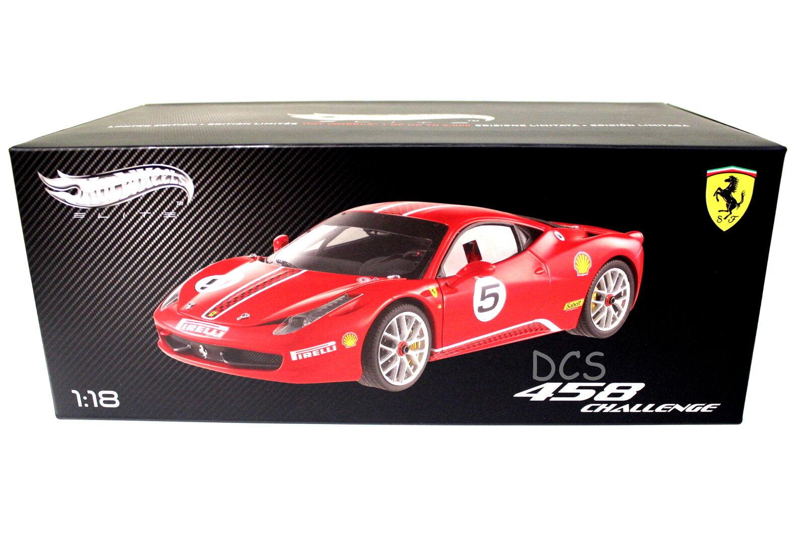 Elite Édition Ferrari 458 Italie Défi Rouge  5 1 18 Hotwheels
