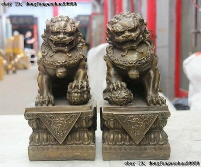 China Bronze Animals FengShui Foo Fu Dog Wealth Lion Ball Head Statue Pair