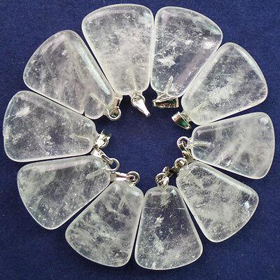 10Pcs White Crystal Trapezoid Pendant Bead N-0251