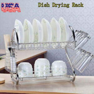 2-Tier-Dish-Drying-Rack-Drainer-Kitchen-Storage-Space-Saver-Stainless-Steel-NEW