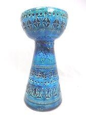Beautiful Aldo Londi design Bitossi Rimimi blue pottery vase candlestick Italy