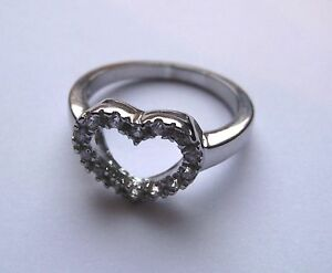 Zircone-ARGENT-STERLING-FORME-COEUR-decoupees-BAGUE-TAILLE-M-3-5g