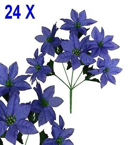 "Lot 24 Bushes 144 Purple Poinsettias 14"" Christmas Holiday Silk Flower Home Deco"