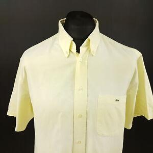 Lacoste-Mens-Oxford-Shirt-43-XL-Short-Sleeve-Yellow-Regular-Fit-Cotton