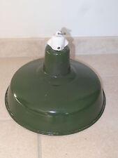 ancienne lampe abat-jour réflecteur USINE industriel émail verte deco loft