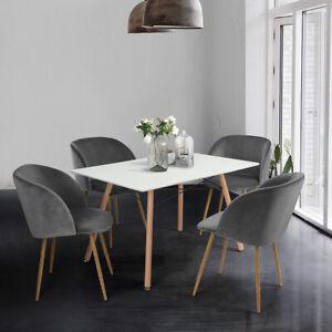 Rechteckig Esstisch Esszimmertisch Skandinavisch Mit 4er Set Retro Stuhlen Mdf Ebay