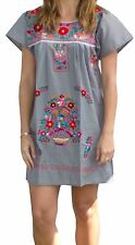 6134ce6801965 Assorted Above Knee Short Embroidered Mexican Peasant Hippie Mini Half Dress
