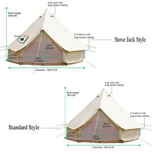 sports shoes 7da08 ff460 Details about 5M Canvas Bell Tent Camping Tent Large Family Tipi Waterproof  Cotton +Stove Jack