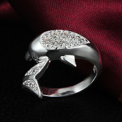 Best Lovely Dolphin Women Silver plated Adjustable Ring Jewelry Elegant VNC