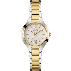 Bulova-Women-039-s-Quartz-Silver-Tone-Dial-Gold-Tone-Bracelet-28mm-Watch-98L217
