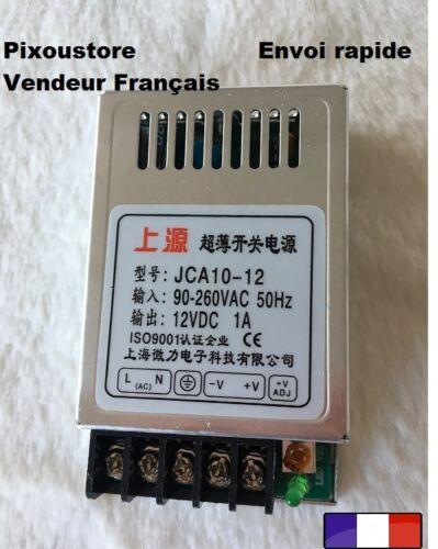 Mini alimentation stabilisée 12 Vdc 1,0 A neuve Alu JCA 10-12 10 watts